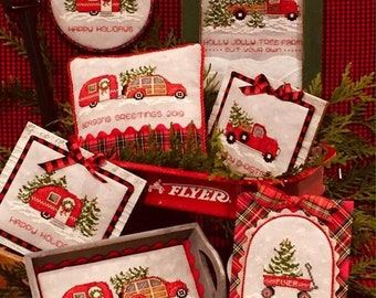 Counted Cross Stitch Pattern, Home for the Holidays, Christmas Decor, Ornaments, Pick Up Truck, Evergreen, Sue Hillis Designs, PATTERN ONLY
