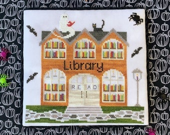 Counted Cross Stitch, Library, Spooky Hollow Series, Halloween, Ghost, Bats, Cat, Books, Cottage Chic, Little Stitch Girl, PATTERN ONLY