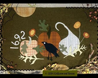 Wool Applique Pattern, A Goode Harvest, Wool Wallhanging, Fall Decor, Crow, Pumpkins, 1894 Cottonwood House, PATTERN ONLY