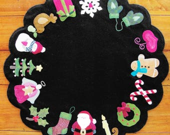 Wool Applique Pattern, Christmas Memories, Penny Rug Pattern, Primitive, Winter Decor, Christmas Decor, Candle Mat, Table Mat,  PATTERN ONLY