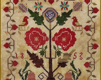 Counted Cross Stitch, M + A 1853 Sampler, Reproduction Sampler, Antique Reproduction, Sampler Motifs, Needle Work Press