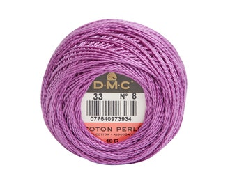 DMC Perle Cotton, Size 8, DMC 33, Fuchsia, Pearl Cotton Ball, Embroidery Thread, Punch Needle, Embroidery, Penny Rug, Sewing Accessory