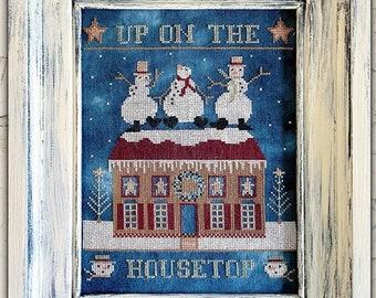 Counted Cross Stitch Pattern, Up On the Housetop, Snowmen, Winter Decor, Christmas Decor, Snowflakes, Teresa Kogut, PATTERN ONLY
