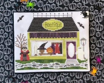Counted Cross Stitch, Bootique, Spooky Hollow Series, Halloween Decor, Vampire, Bats, Ghost, Cottage Chic, Little Stitch Girl, PATTERN ONLY