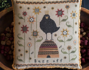 Counted Cross Stitch Pattern, Buzz Off, Fall Decor, Bee Skep, Crow, Bees, Sunflowers, Primitive Decor, Plum Street Samplers, PATTERN ONLY