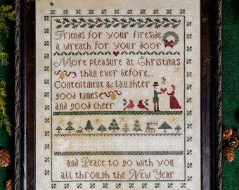 Counted Cross Stitch Pattern, Hearthside Christmas, Christmas Sampler, Christmas Decor, Pin Pillow, Erica Michaels, PATTERN ONLY