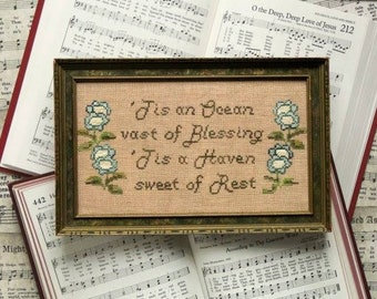 Counted Cross Stitch Pattern, Sunday Stitches, Oh the Deep Deep Love, Hymn, Beth Twist, Heartstring Samplery, PATTERN ONLY