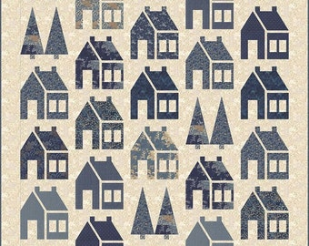Quilt Pattern, Blue Barn, Barn Quilt, Houses Quilt, Pieced Barns, Traditional Bed Quilt, Laundry Basket Quilts, Edyta Sitar, PATTERN ONLY