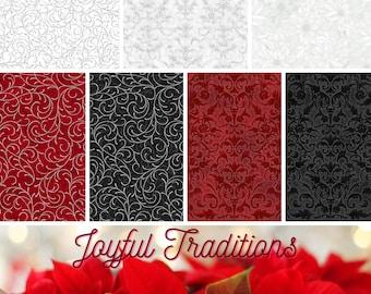 Quilt Fabric, Joyful Traditions, Christmas Fabrics, Scrolls, Swirls, White Poinsettias, Quilters Cotton, Holiday Fabric, Hoffman Fabrics