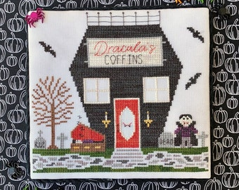 Counted Cross Stitch, Coffin Shop, Spooky Hollow Series, Halloween, Vampire, Bats, Coffin, Cottage Chic, Little Stitch Girl, PATTERN ONLY