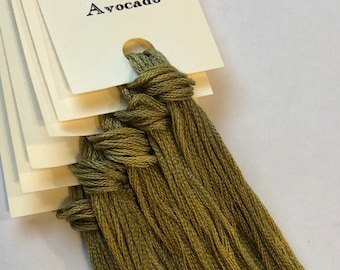 Classic Colorworks, Avocado, CCT-207, 5 YARD Skein, Hand Dyed Cotton, Embroidery Floss, Counted Cross Stitch,Hand Embroidery Thread