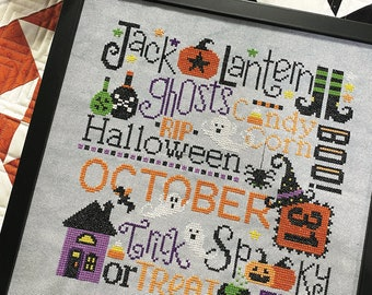 Counted Cross Stitch, This is Halloween, Halloween Decor, Pumpkins, Ghosts, Lindsey Weight, Primrose Cottage Stitches