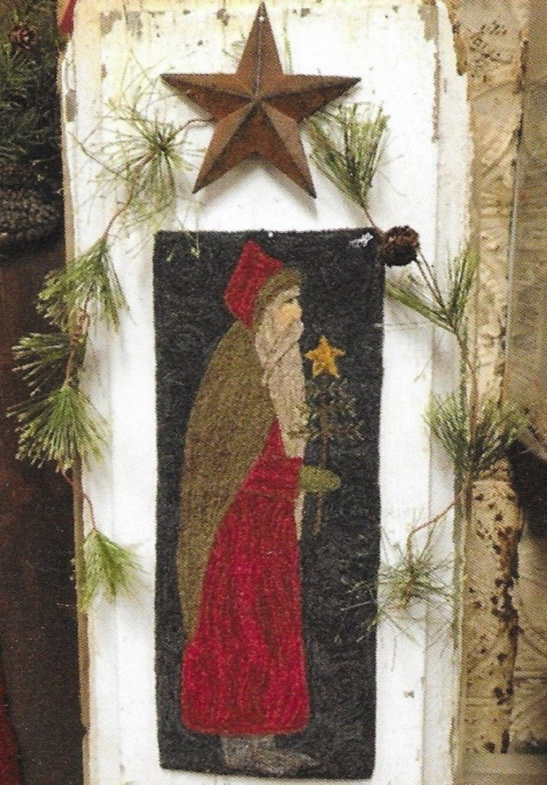 Primitive Christmas Tree.Punch Needle Pattern Santa Primitive Decor Christmas