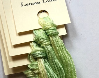 Classic Colorworks, Lemon Lime, CCT-019, 5 YARD Skein, Hand Dyed Cotton, Embroidery Floss, Counted Cross Stitch,Hand Embroidery Thread