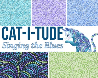 Quilt Fabric, Cat-I-Tude, Beaded Swirls, Tonal Blender, Border Stripe, Quilter Cotton, Singing the Blues, Ann Lauer, Grizzly Gulch, Benartex