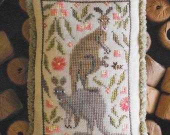 Counted Cross Stitch Pattern, Roo Crew, Kangaroo, Kangaroo Troop, Christmas Ornament, Pillow Tuck, Holly, Plum Street Sampler, PATTERN ONLY