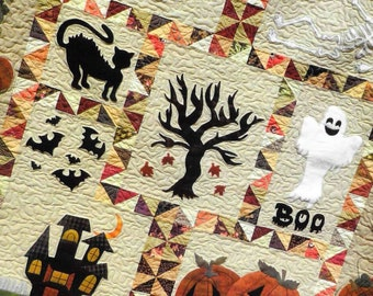 Quilt Pattern, Spooky Hollow, Halloween Decor, Halloween Witch, Haunted Mansion, Applique Quilt, Sew Cherished, Dawn Shuck, PATTERN ONLY