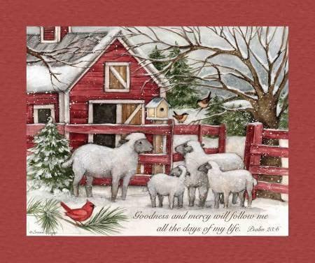 Quilt Fabric Barn Panel Winter Fabric Barn Sheep
