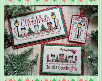 Counted Cross Stitch Pattern, Christmas Street, Christmas Decor, Santa Claus, Reindeer, Waxing Moon Designs, PATTERN ONLY
