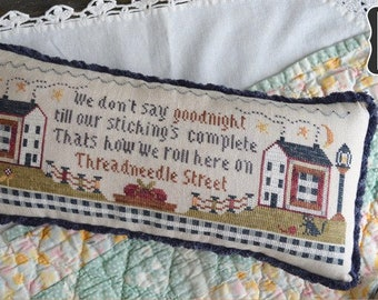 Counted Cross Stitch Pattern, Thread Needle Street, Sampler,  Sewing, Stitching, Bowl Filler, Annie Beez Folk Art, PATTERN ONLY