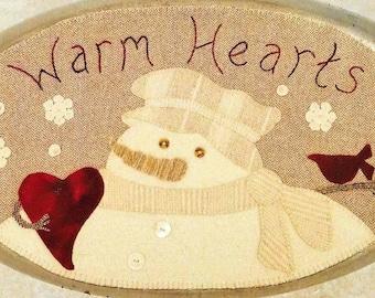 Wool Applique Pattern, Warm Hearts, Table Mat, Winter Decor, Snowman, Cardinal, Holiday Decor, Wool Mat, Sew Cherished, PATTERN ONLY