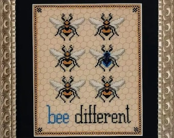 Counted Cross Stitch Pattern, Bee Different, Bumble Bees, Yellow Bees, Bees, Garden Decor, The Blackberry Rabbit, PATTERN ONLY