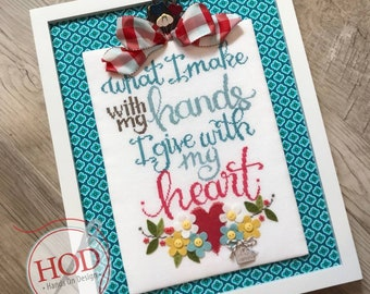 Cross Stitch Pattern, Give With My Heart, Flowers, Friendship, Inspiration, Heart, Tammy Tutterow, Hands On Design, PATTERN ONLY