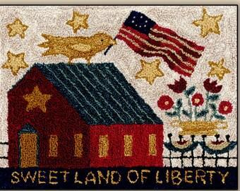 Punch Needle Pattern, Sweet Land, Folk Art Decor, Patriotic, Americana, Primitive Decor, Rustic Decor, Farmhouse, Teresa Kogut, PATTERN ONLY