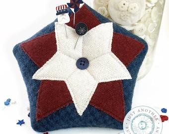 Pin Lovers, Spinning Stars, Pin Mini, Pinwheel Pin, Firecracker Pin, Uncle Sam Pin, Americana, July Pincushion, Just Another Button Company