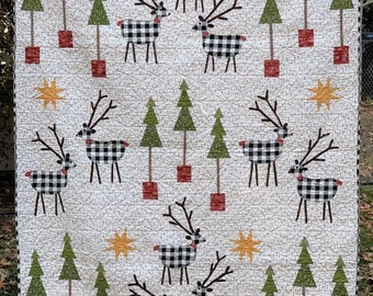 Quilt Pattern, So This is Christmas, Reindeer, Christmas Trees, Applique Quilt, Christmas Quilt, Cotton Street Commons, PATTERN ONLY