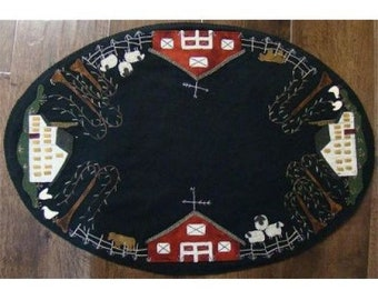 Wool Applique Pattern, Summer on the Farm,  Wool Table Runner, Primitive Decor, Wool Tablemat, Primitive Gatherings, PATTERN ONLY