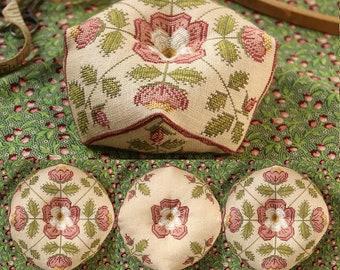 Counted Cross Stitch Pattern, Tudor Rose Biscornu, Tudor Roses, Pin Keep, Beth Twist, Heartstring Samplery, PATTERN Only