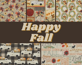 Quilt Fabric, Happy Fall, Fall Fabric, Autumn, Thanksgiving, Sunflowers, Harvest, Pickup Truck, White Pumpkin, Beth Albert, 3 Wishes Fabric