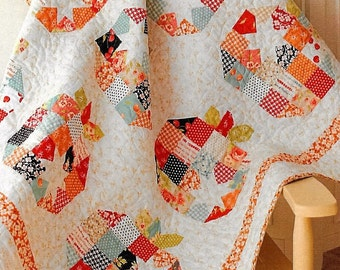 Quilt Pattern, Pumpkin Seeds, Fall Decor, Cottage Decor, Patchwork Quilt, Quilted Wall Hanging, Lap Quilt, Charm Pack Quilt, PATTERN ONLY