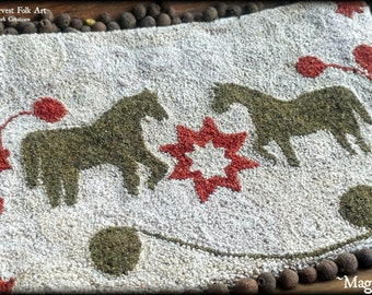 Punch Needle Pattern, Maggies' Mares, Primitive Horses, Punch Needle, Primitive Decor, Vermont Harvest Folk Art, Doreen Frost,  PATTERN ONLY
