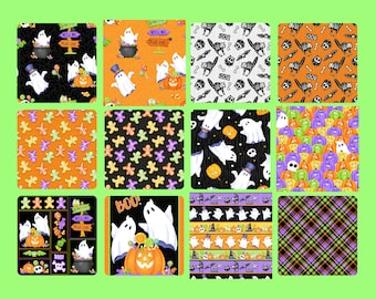 Quilt Fabric, Glow Ghosts, Glow in the Dark, Halloween Fabric, Skeletons, Quilters Cotton Fabric, Shelley Comiskey, Simply Shelley Designs