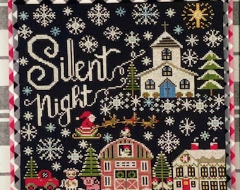 Counted Cross Stitch Pattern, Silent Night, Christmas Decor, Snowflakes, Church, Hymn, Stitching Housewives, PATTERN ONLY