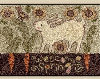 Punch Needle Pattern, Carrot Row, Primitive Decor, Farmhouse Decor, Bunny, Teresa Kogut, Punch Needle Embroidery, PATTERN ONLY