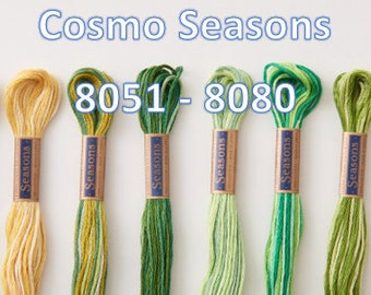 Cosmo, SE80-8051 - 8080, Seasons Embroidery Thread, 6 Strand Cotton Floss,Punch Needle, Penny Rugs, Primitive Stitching, Sewing Accessory