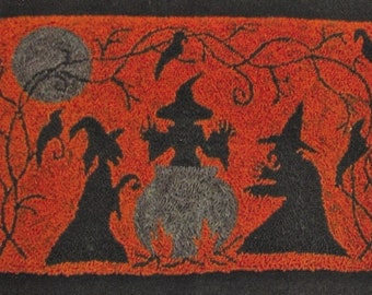 Punch Needle Pattern, All Hallow's Eve, Primitive Decor, Halloween Decor, Primitive Halloween, Witches, The Old Tattered Flag, PATTERN ONLY