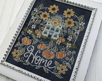 Counted Cross Stitch Pattern, Sunflower Manor, Chalk Artwork, Sunflowers, Pumpkins, Farmhouse Decor, Hands On Design, PATTERN ONLY
