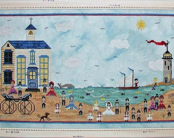 Counted Cross Stitch Pattern, Wedding at Mermaid's Cove, Summer Beach, Bride & Groom, Lighthouse, Boat, Praiseworthy Stitches, PATTERN ONLY