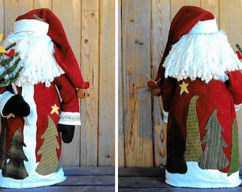 Wool Applique Pattern, Jolly Jo, Winter Decor, Santa, Wool Santa, Christmas Decor, Bits and Pieces, Free Standing Santa, PATTERN ONLY
