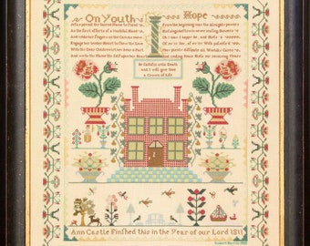 Counted Cross Stitch Pattern, Ann Castle 1811, Reproduction Sampler, Antique Sampler, Primitive Decor, Hands Across the Sea, PATTERN ONLY