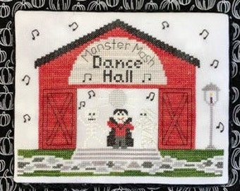 Counted Cross Stitch, Dance Hall, Spooky Hollow Series, Halloween Decor, Monsters Music Mash, Cottage Chic, Little Stitch Girl, PATTERN ONLY