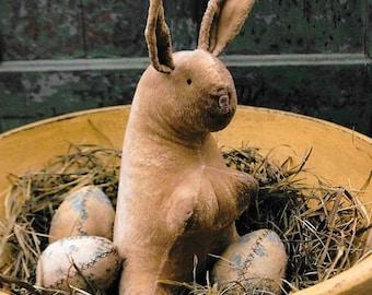 Early Primitive Pattern, Velveteen Rabbit & Eggs, Primitive Decor, Easter Decor, Stitchery Pattern, Stacy Nash Primitives, PATTERN ONLY