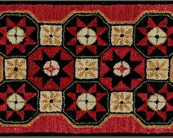 Punch Needle Pattern, Folk Quilt Stars, Folk Art Decor, Primitive Decor, Rustic Decor, Farmhouse, Teresa Kogut, PATTERN ONLY