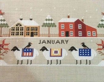 Counted Cross Stitch Pattern, Heroic Ewes, On A Freezing Day, Winter Decor, Sheep, Barns, Country Rustic, Twin Peak Primitives, PATTERN ONLY