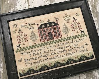 Counted Cross Stitch Pattern, Seeking Refuge, Sampler, Floral Motifs, Brick House Sampler, Primitive Decor, The Scarlett House, PATTERN ONLY