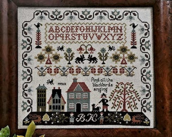 Counted Cross Stitch Pattern, And All the Blackbirds Singing, Motif Sampler, Blackbirds, Brenda Keyes, The Sampler Company, PATTERN ONLY
